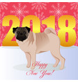 happy new year card with pug vector image vector image