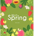 hello spring cute floral background with trendy vector image vector image