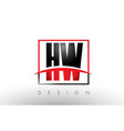 hw h w logo letters with red and black colors vector image vector image