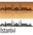 Istanbul skyline in orange vector image vector image