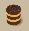 Line cake icon chocolate cake vector image