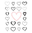 love heart drawn icon set valentines holiday vector image vector image