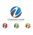 n letter wave logo template vector image