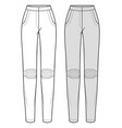 pants fashion flat sketch template9 vector image vector image
