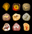 rock painting set primitive art vector image vector image