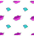 seamless pattern of lips and diamond vector image vector image