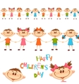 Seamless pattern with cute childrens Happy vector image vector image