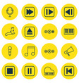 set of 16 audio icons includes mute song last vector image vector image