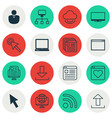 set of 16 world wide web icons includes virtual vector image vector image