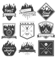 set of forest camp labels in vintage style vector image vector image