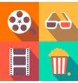 Set of movie design elements and cinema icons flat vector image vector image