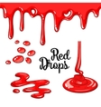 Set of red drops and blots isolated on white vector image