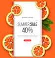 summer sale banner with sliced grapefruit pieces vector image vector image