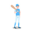 the teenage boy baseball player stands with the vector image vector image
