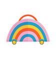 travel children suitcase with rainbow vector image