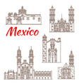 travel landmark of mexican architecture icon vector image vector image