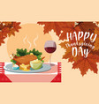 turkey dinner with set icons in table vector image vector image