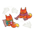 two cute baby foxes in scarf and sweater with vector image vector image