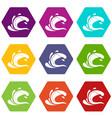water wave splash icon set color hexahedron vector image vector image