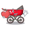 with heart baby sitting in a baby stroller cartoon vector image