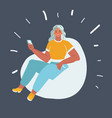woman sitting on beanbag chair vector image vector image