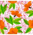 Tropical pattern with orange hibiscus flowers vector image