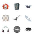 biker logo icons set cartoon style vector image