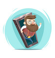 hipster wave hand mobile phone cartoon design vector image