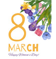 8 march floral card for women international day vector image