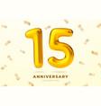 anniversary golden balloons number 15 vector image vector image