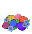 beautifully colored eggs and festive tulips vector image