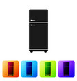 black refrigerator icon isolated on white vector image vector image
