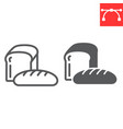 bread line and glyph icon bakery and breakfast vector image vector image