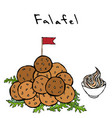 bunch of falafel balls with flag arugula herb vector image vector image