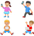 cartoon kids holding tablet phone and laptop vector image vector image