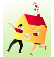 Cohabit Young Couple Sharing their New Home vector image vector image