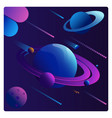 colorful cartoon fantasy planets set on space vector image