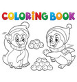 coloring book penguins playing with snow vector image vector image