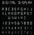 Digital white alphabet vector image vector image