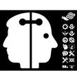 Dual Head Connection Icon With Tools Bonus vector image