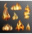 Fire Transparent Set vector image vector image