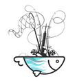 fish and fishing tools vector image vector image