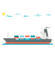 flat design cargo ship background vector image