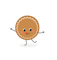 funny gingerbread cookie character vector image