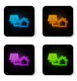 glowing neon house with solar panel icon isolated vector image vector image