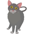 grey cartoon domestic cat with yellow eyes vector image vector image