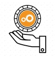 hand and gear yellow isolated icon design vector image