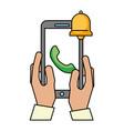 hands with smartphone telephone bell alert vector image