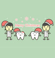happy tooth and dentist wearing santa claus hat vector image vector image