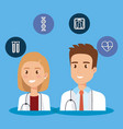 healthcare icons and medical staff characters vector image vector image